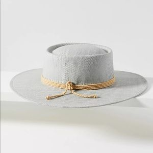 Anthropologie Rowan Trimmed Boater Hat NWT Gray